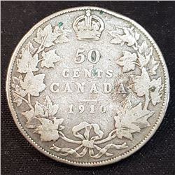 Canada 1910 Silver 50 Cents, Victorian Leaves, rim nicks