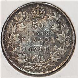 Canada 1918 Silver 50 Cents