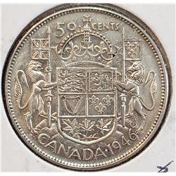 Canada 1946 Silver 50 Cents, Hoof Thru 6