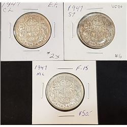 Lot of 3 1947 Canadian Silver 50 Cents