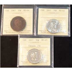 Lot of 3 Graded Canadian 50 Cents