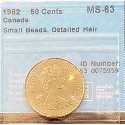 Canada 1982 50 Cents, Small Beads, Detailed Hair, MS-63