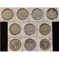 Lot of 10 Canadian Silver Dollars