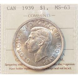 Canada 1939 Silver Dollar, MS-63