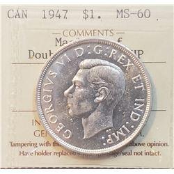 Canada 1947 Silver Dollar, ML, DHP
