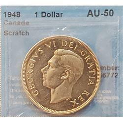 Canada 1948 Silver Dollar, Scratch, AU-50
