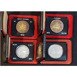 Lot of 4 Canadian Silver Dollars with original boxes