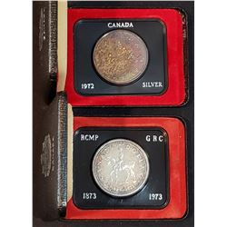 Lot of 2 Canadian Silver Dollars with original boxes