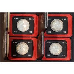 Lot of 4 Canada 1973 RCMP Centennial Silver Dollars