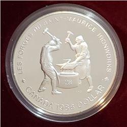 Canada 1988 Les forges du Saint-Maurice Silver Dollar