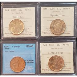 Lot of 4 Canadian Dollars, MS-65