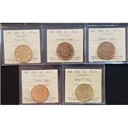 Lot of 5 Canadian Dollars, MS-65
