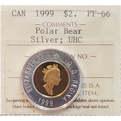 Canada 1999 Polar Bear Silver and Gold Plated Two Dollar, PF-66