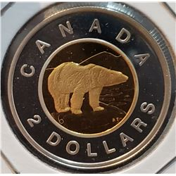 Canada 2002 Polar Bear Silver and Gold Plated Two Dollars