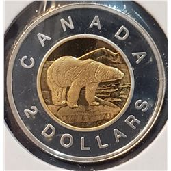 Canada 2003 Polar Bear Silver and Gold Plated Two Dollars