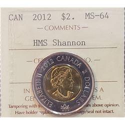 Canada 2012 HMS Shannon Two Dollar, MS-64
