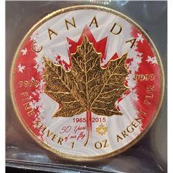 Canada 2015 1 oz. Silver Maple Leaf 5 Dollars, MS-67