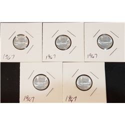 Lot of 5 Uncirculated (directly from rolls) 1967 Canada Silver 10 Cents