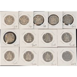 Lot of 13 Canada Uncirculated (directly from rolls) 50 Cents