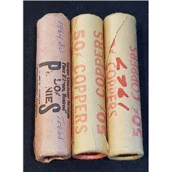 Lot of 3 Original One Cents rolls