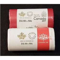 Lot of 2 Canada 2017 50 Cents rolls