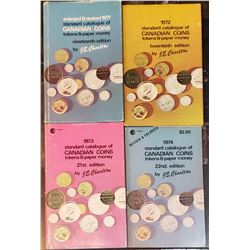 Lot of 4 Charlton Canadian coins, tokens and paper money books (1971-1972-1973-1974)