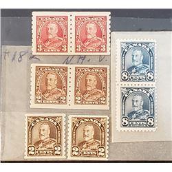 Lot of 8 King George V Canadian Stamps
