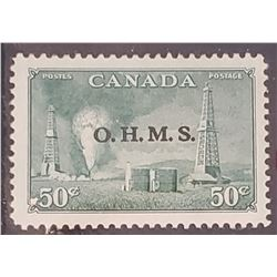 Oil Development, Western Canada O.H.M.S. 50 cents 1950 Canadian stamp