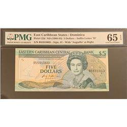 East Caribbean States/Dominica 1988-93 5 Dollars Gem Uncirculated 65 EPQ
