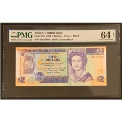 Belize 1991 2 Dollars, Choice Uncirculated 64 EPQ