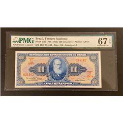 Brasil 1964 100 Cruzeiros, Superb gem uncirculated 67 EPQ