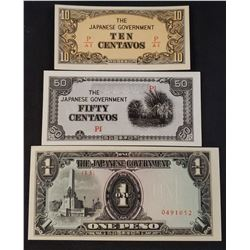 Lot of 3 Uncirculated Japanese Government WW2 (Philippines Occupation)