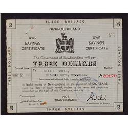 Newfoundland 1942 War Savings Certificate Three Dollars