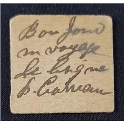 """Quebec Old Cardboard used as Merchant Script with hand-written mention """"Bon pour un voyage de brique"""
