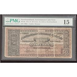 NFLD 1911-12 50 Cents, Choice Fine 15