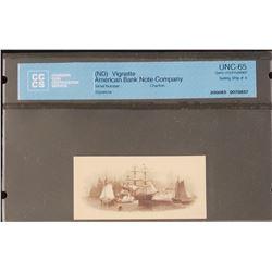 American Bank Note Company Vignette, Sailing Ship #4, Gem Uncirculated 65