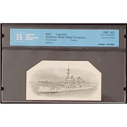 American Bank Note Company Vignette, Armored Cruiser, Gem Uncirculated 65