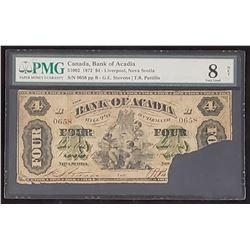 Bank of Acadia 1972 Stevens-Patillo 4$, Very Good 8 Net