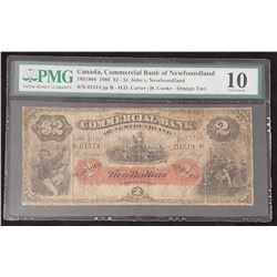 Commercial Bank of Newfoundland 1888 Carter-Cooke $2, Orange Tint, Very Good 10