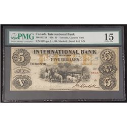 International Bank 1958 Markell/Small Red S/N, $5, Choice Fine 15