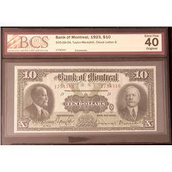 Bank of Montreal 1923 Taylor-Meredith $10 BCS Graded EF-40