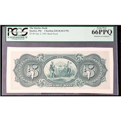 The Quebec Bank Back Proof 1901 $5, Gem New 66 PPQ