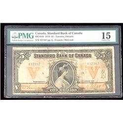 Standard Bank of Canada 1919, Francis-McLeod $5, Choice Fine 15