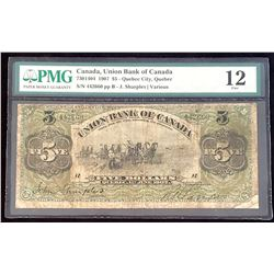 Union Bank of Canada 1907 Sharples-Various $5, Fine 12