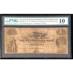 Westmorland Bank of New Brunswick 1854 Johnson-Jones $1, Very Good 10