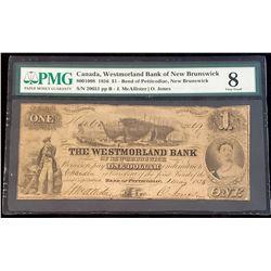 Westmorland Bank of New Brunswick 1856 McAllister-Jones $1, Very Good 8