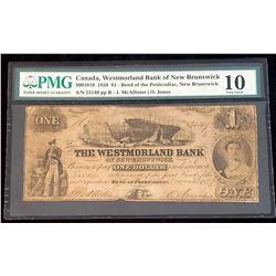 Westmorland Bank of New Brunswick 1859 McAllister-Jones $1, Very Good 10