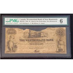 Westmorland Bank of New Brunswick 1859 McAllister-Jones $2, Good 6