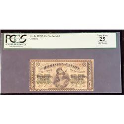 Dominion of Canada 1870 Dickinson-Harington 25 Cents, Series A, Very Fine 25