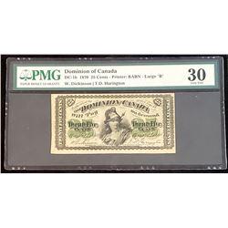 Dominion of Canada 1870 Dickinson-Harington 25 Cents, Large B, Very Fine 30